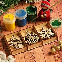 Набор заготовок для творчества 'Снежинки и игрушки', 6 видов, 12 шт, размер 6х5 см