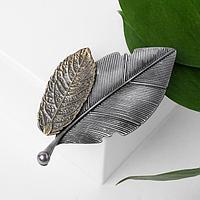 Брошь 'Листья', цвет чернёного серебра и золота