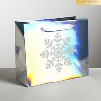 Пакет голографический горизонтальный 'Снежинка', ML 27 x 23 x 11.5 см