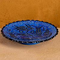 Тарелка плоская 18см 'Синий тюльпан'