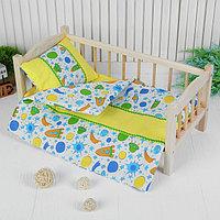 Постельное бельё для кукол 'Ракеты', простынь, одеяло, подушка, цвет голубой