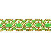 Тесьма плетёная оранжево-зелёная в рулоне 20 метров