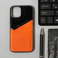 Чехол LuazON для iPhone 12 mini, поддержка MagSafe, вставка из стекла и кожи, оранжевый