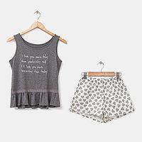 Комплект женский (топ, шорты) 'КОКЕТКА', цвет серый, размер 48