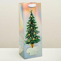Пакет голографический под бутылку 'Новогоднее настроение', 13 x 36 x 10 см