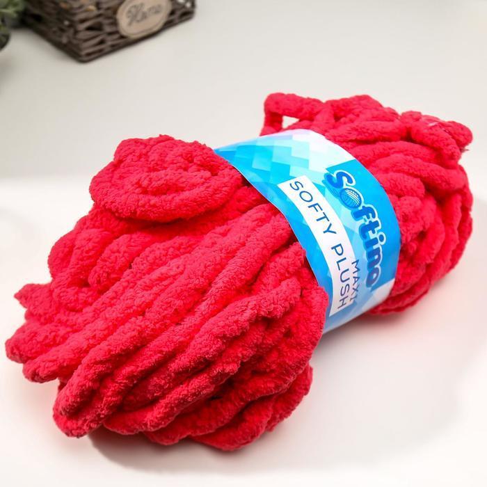 Пряжа фантазийная 100 полиэстер 'Softy plush maxi' 250 гр 22 м красный сольферино - фото 2