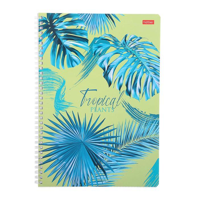 Тетрадь А4, 96 листов в клетку, на гребне 'Тропические листья', обложка мелованный картон, блок офсет, МИКС - фото 4
