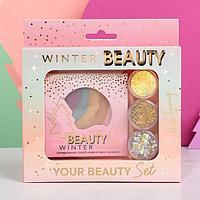 Набор радужный хайлайтер и 3 баночки глиттера для лица и тела 'Beauty Winter'