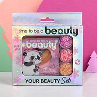 Набор радужный хайлайтер и 3 баночки глиттера для лица и тела 'Time to be a beauty'