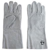 Перчатки краги 'Люкс' без подкладки 35 см, цвет серый