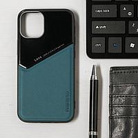 Чехол LuazON для iPhone 12 mini, поддержка MagSafe, вставка из стекла и кожи, зеленый