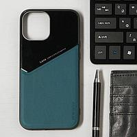 Чехол LuazON для iPhone 12 Pro Max, поддержка MagSafe, вставка из стекла и кожи, зеленый