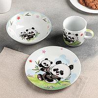 Набор детской посуды Доляна 'Семья пандочек', 3 предмета кружка 230 мл, миска 400 мл, тарелка 18 см