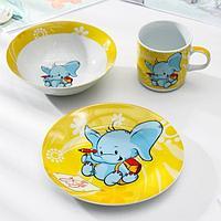 Набор детской посуды Доляна 'Слонёнок', 3 предмета кружка 230 мл, миска 400 мл, тарелка 18 см