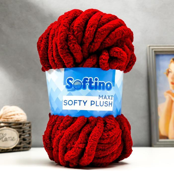 Пряжа фантазийная 100 полиэстер 'Softy plush maxi' 250 гр 22 м вишневый - фото 1