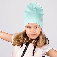Шапка для девочки, цвет мята/сердечко, размер 54-58