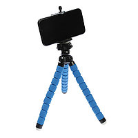 Штатив-тренога LuazON, настольный, гибкие ножки, крепление для телефона, высота 26 см, синий