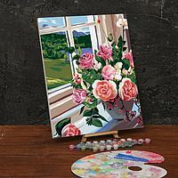 Картина по номерам на холсте с подрамником 'Букет роз на окне' 40х50 см