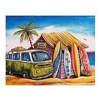Роспись по холсту 'Дом серферов' по номерам с красками по 3 мл+ кисти+инстр+крепеж, 30 x 40 см