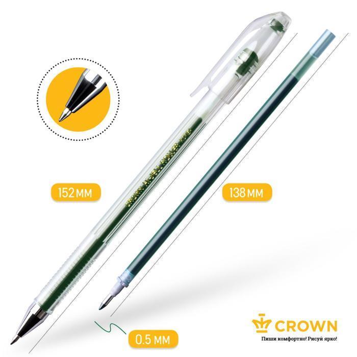 Набор гелевых ручек 5 цветов Crown, узел 0.5 мм, европодвес - фото 4