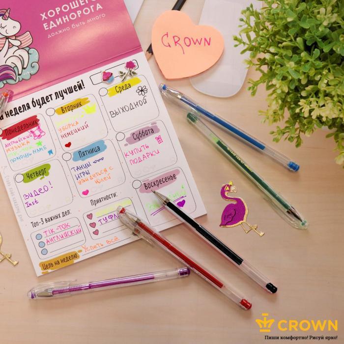 Набор гелевых ручек 5 цветов Crown, узел 0.5 мм, европодвес - фото 5