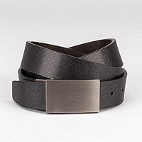 Ремень мужской 'Кевин', пряжка на прокол матовый металл, ширина - 3,5 см, цвет чёрный/коричневый