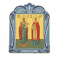 Икона Петра и Февронии в киоте 'Спаси и сохрани' на подставке