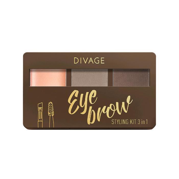 Набор для бровей с воском Divage Eyebrow Styling Kit 3 in 1, 02 - фото 1