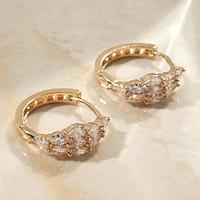 Серьги-кольца 'Циркония' букет, d2,3, цвет белый в золоте