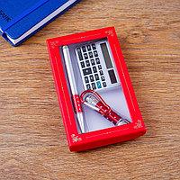 Набор подарочный 3в1 (ручка, калькулятор, фонарик красный)