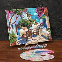 Картина по номерам на холсте с подрамником 'Уютный дворик у моря' 40х50 см