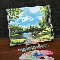 Картина по номерам на холсте с подрамником 'Лесной ручей' 40х50 см