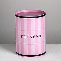 Подарочная банка - бочка Present, 13.5 х 13,5 х 18 см