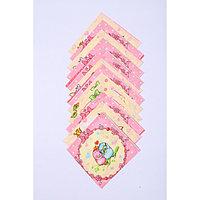 Набор платков носовых детских 18х18 см, 12шт, рис 21020 розовый микс, 100г/м хл100