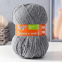 Пряжа Grannys sock S (Бабушкин носок ПШ) 30 шерсть 70 акрил 250м/100гр м.серый (380) (комплект из 2 шт.)