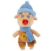 Мягкая игрушка 'Поросенок Коля в зимней одежде' Оранжевая корова, 17 см, музыкальная