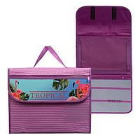 Папка для труда А4 с ручками, текстиль, раскладная на липучке, ПТР-10, 'Фламинго в цветах'