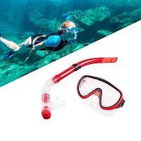 Набор для плавания Conquest (дыхательная трубка и маска) красный