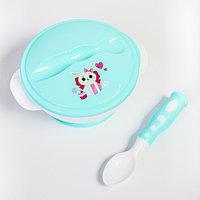 Набор детской посуды 'Зайчик', 3 предмета тарелка на присоске, крышка, ложка, цвет бирюзовый