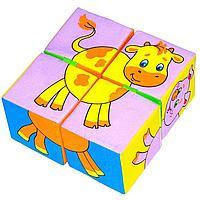 Набор развивающих мягких кубиков 'Собери картинку. Животные 2'