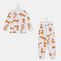 Пижама для девочки НАЧЁС, цвет белый/рис. лисички, рост 128-134 см