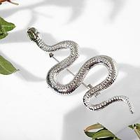 Брошь 'Змея' извилистая, цвет серебро
