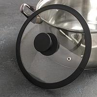 Крышка для сковороды и кастрюли Доляна стеклянная с силиконовым ободком и ручкой, d20 см, цвет чёрный