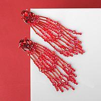 Серьги висячие со стразами 'Флоренция', цвет красный в серебре