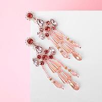Серьги висячие со стразами 'Дольче Вита' блеск, цвет розовый в серебре