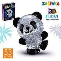Пазл 3D кристаллический 'Панда', 53 детали, световой эффект, работает от батареек, цвета МИКС