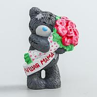 Сувенир полистоун 'Медвежонок Me to you с букетом розовых роз - Лучшая мама' 4,5 см