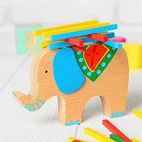 Баланс 'Слоник с поклажей', в наборе 40 палочек, размер слона 13 x 9 x 1,9 см
