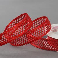 Лента фигурная 'Ромбы резные', 25 мм, 9 ± 0,5 м, цвет красный