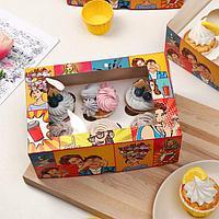 Упаковка на 6 капкейков 'Сладкий сюрприз', с окном, 25 х 17 х 10 см (комплект из 5 шт.)